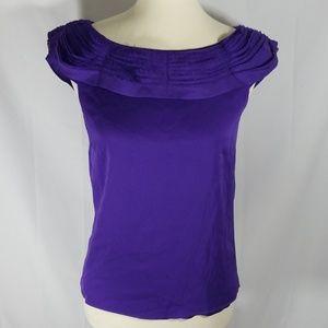 Alice + Olivia violet silk ruffled boatneck top
